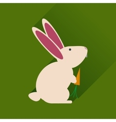 Flat web icon with long shadow rabbit carrot vector