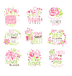 Flower shop green and pink colorful graphic design vector