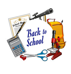 Frame stationery tools back to school lettering vector