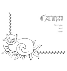 Funny cat background vector
