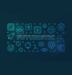 futuristic blue modern horizontal banner in vector image