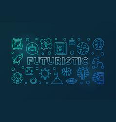 Futuristic blue modern horizontal banner in vector