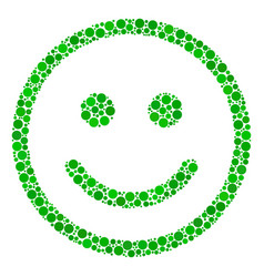 Glad smiley collage of filled circles vector