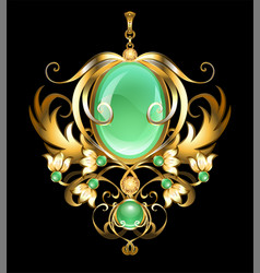 Gold brooch with chrysoprase vector