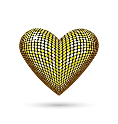 Golden heart isolated on white vector