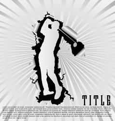 Golf silhouette break through white background vector