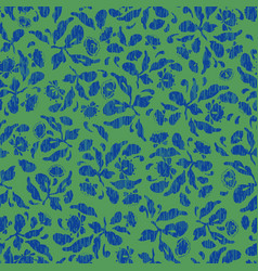green and blue folk art floral pattern vector image