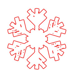grunge ourline snowflake vector image