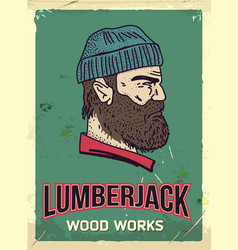 grunge retro metal sign with lumberjack vector image