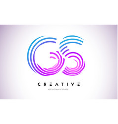 gs lines warp logo design letter icon made with vector image