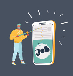 Guy looking for job telephone vector