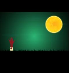 Halloween blood zombie hand moon vector