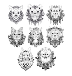 Hand drawn dog faces vector