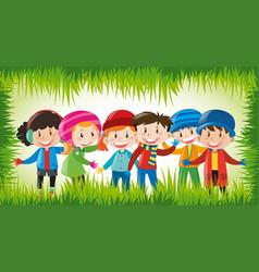 Happy children in winter clothes vector