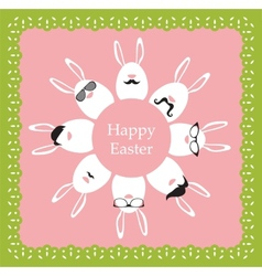 happy hipster easter - set stylish bunnyeggs vector image