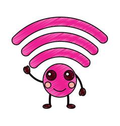happy wifi kawaii icon image vector image