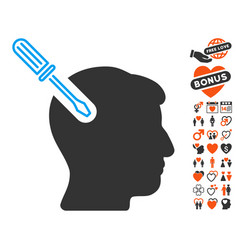Head surgery screwdriver icon with dating bonus vector