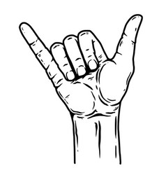 human hand with shaka sign design element vector image