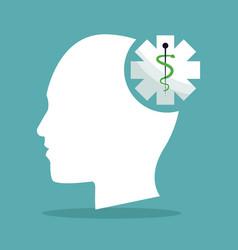 human head brain shape caduceus healthcare vector image