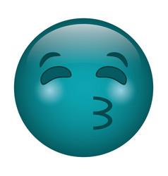 kissing emoticon style icon vector image vector image