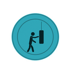Light blue circular frame of man knocking punching vector