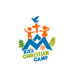 Logo kids christian camp vector