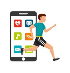 man runner sport smartphone apps technology vector image