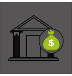 money bag bank building graphic vector image