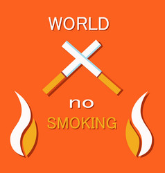 no smoking sign crossed burning cigarette vector image