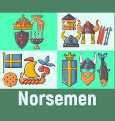 Norsemen concept banner cartoon style vector