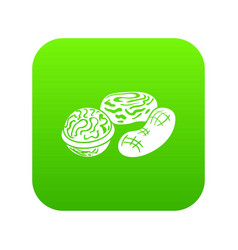 nuts icon green vector image