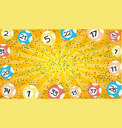orange lottery banner with lottery balls vector image