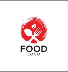 organic cutlery food logo design vector image