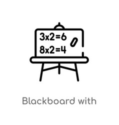 Outline blackboard with basic calculations icon vector