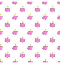Pink piggy bank pattern cartoon style vector