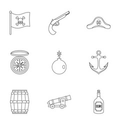 pirates attributes icon set outline style vector image