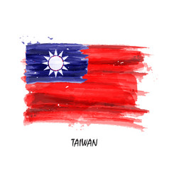 realistic watercolor painting flag of taiwan vector image
