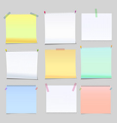 realistic yellow green and white memo stickers vector image
