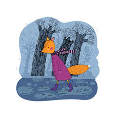 sad cartoon fox walking in rain vector image