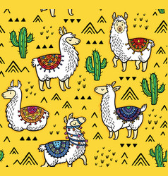 seamless pattern of llamas cactuses and geometric vector image
