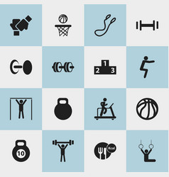 Set of 16 editable exercise icons includes vector