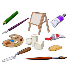 Set of art accessories and materials vector