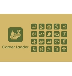 Set of career ladder simple icons vector