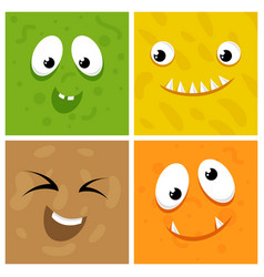 Set of cartoon monster faces vector