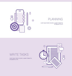 Set of planning and write tasks banners business vector