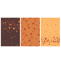 set seamless patterns with autumn leaves vector image