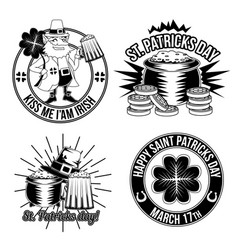 set st patricks emblems vector image