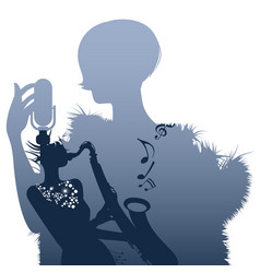 silhouette woman singer and woman playing the vector image