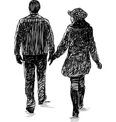sketch a pair townspeople on a stroll vector image