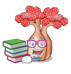 Student with book bottle shaped tree on a cartoon vector